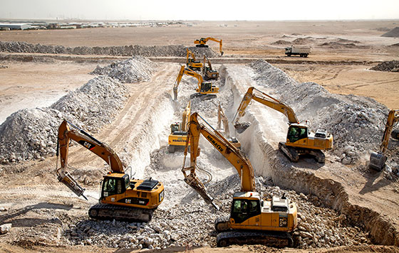 excavators-work-together-to-prepare-for-the-construction