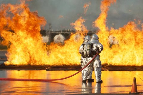 Firefighters battled a controled fire on the tarmac at Penn State's University Park Airport on May 23 during a full-scale emergency exercise. The exercise was designed to give emergency response personnel from around the Centre Region both training in an air disaster scenario.