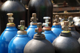 Acetylene and gas steel storage tanks for welding ** Note: Shallow depth of field