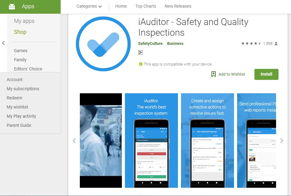 i Auditor Safety and Quality Inspections:Safety APP.