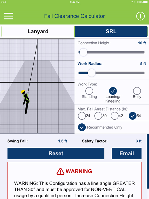 Miller Fall Clearance Calculator:Safety APP.