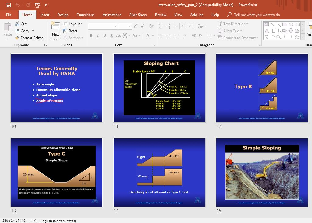 Excavation and Trenching:Training Materials