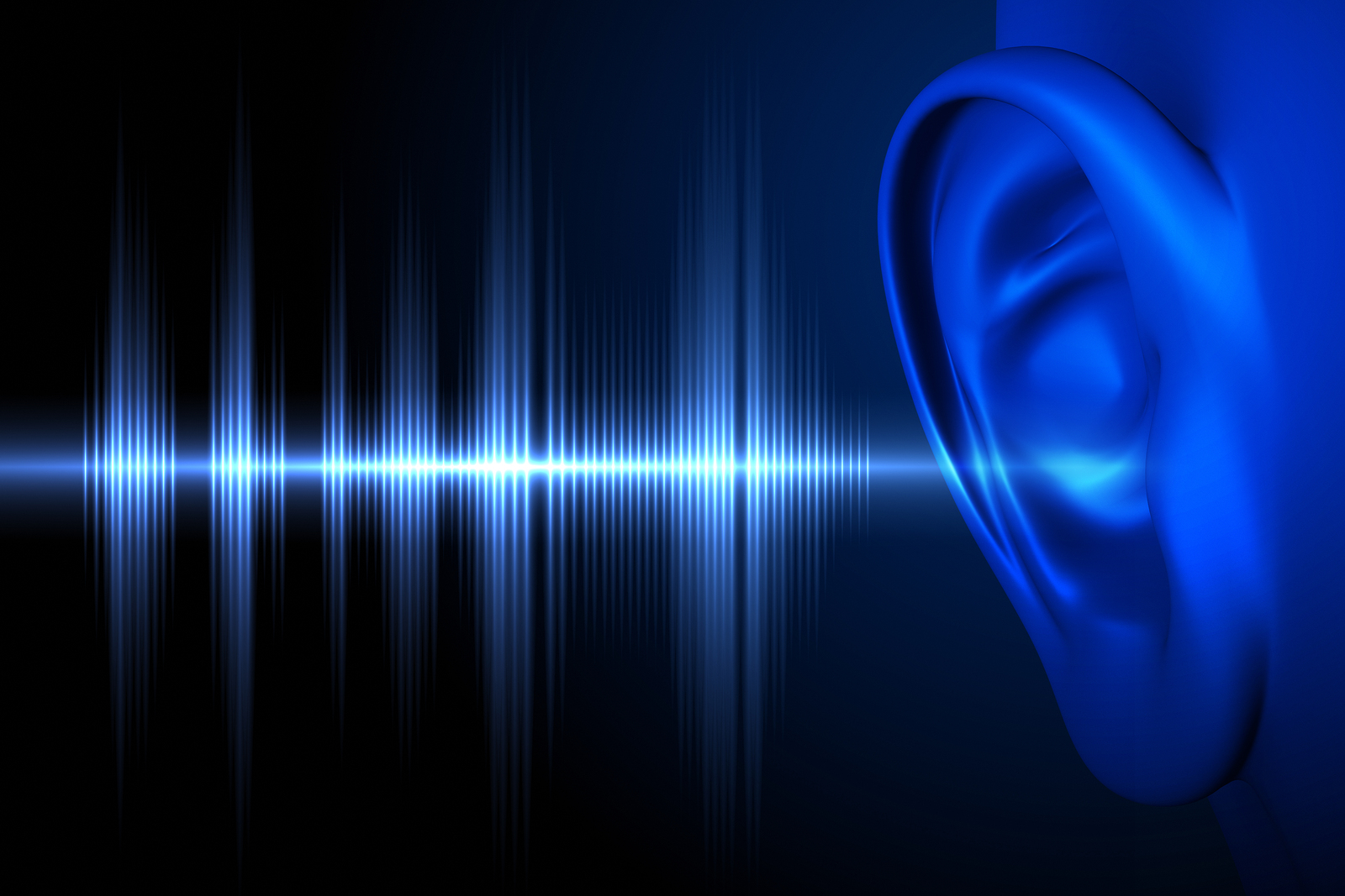 Conceptual image about human hearing. Soundwave and human ear