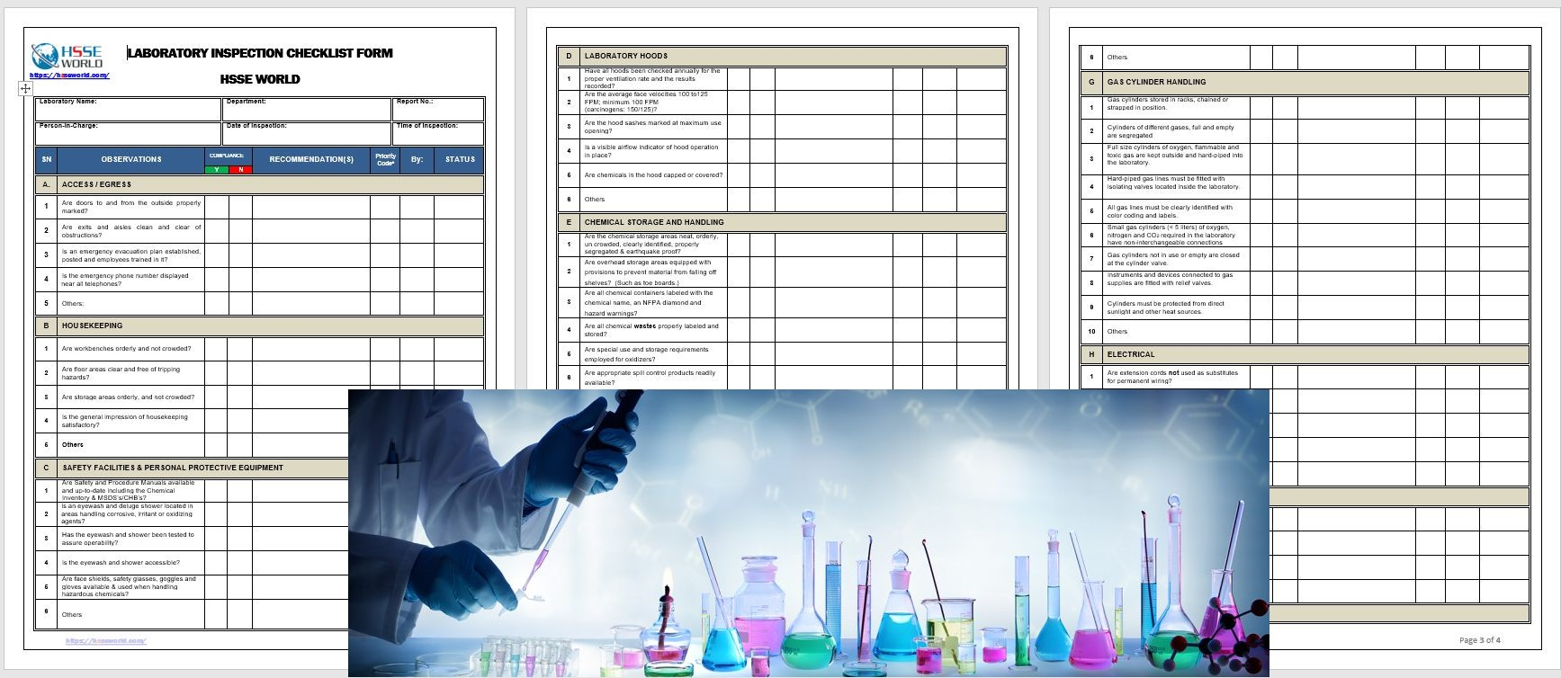 Laboratory Inspection Checklist Form