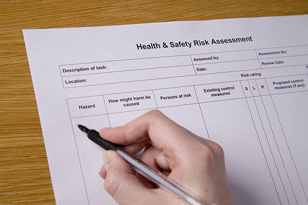 Health & Safety Risk Assessment form being completed